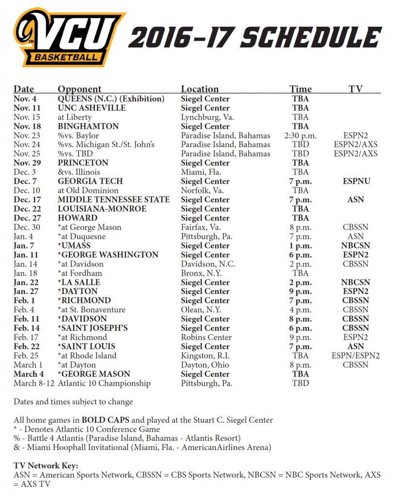 2016 2017 VCU Men S Basketball Schedule Released RVAHub