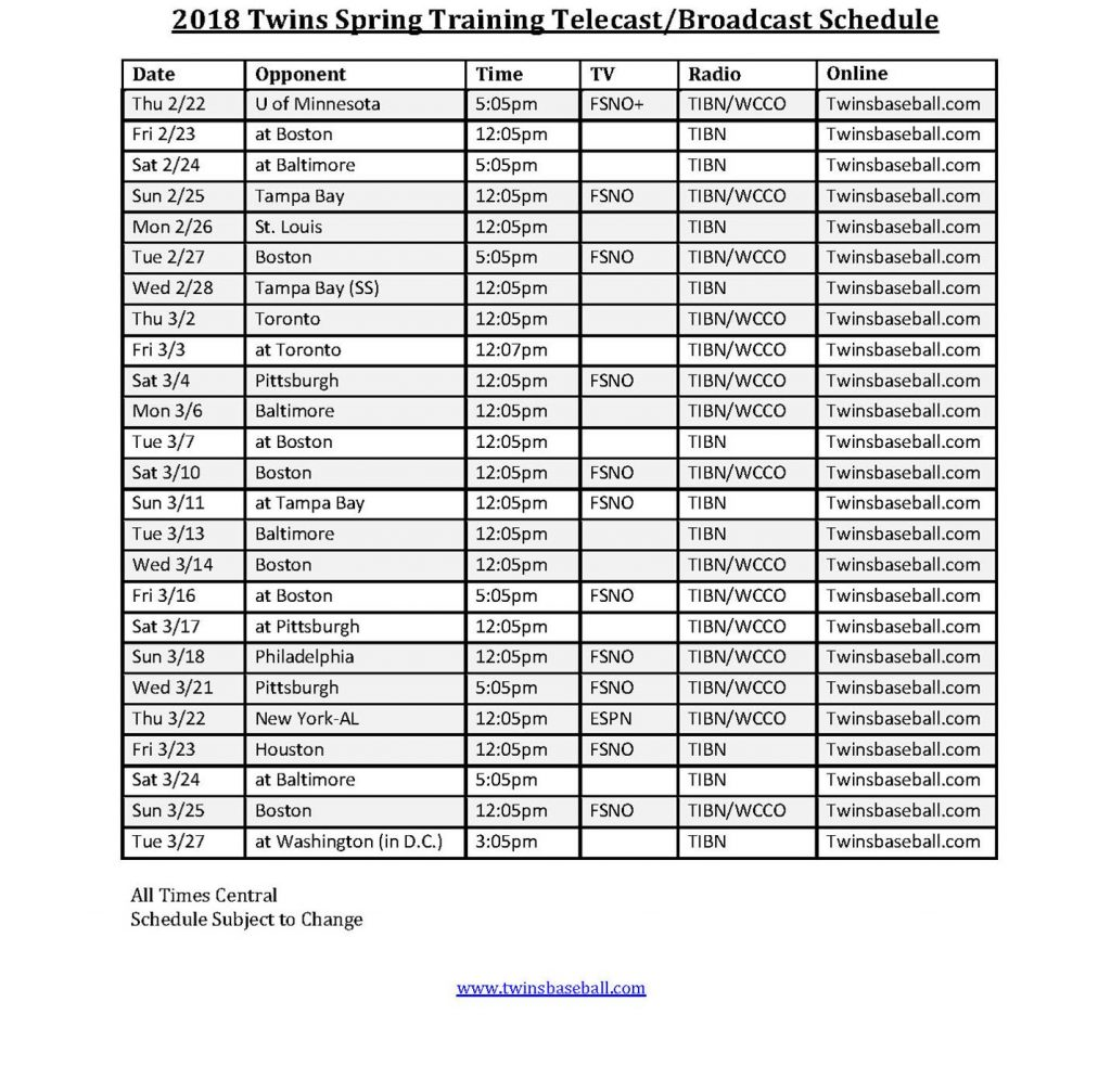 2018 Minnesota Twins Broadcast Schedule Posted Spring