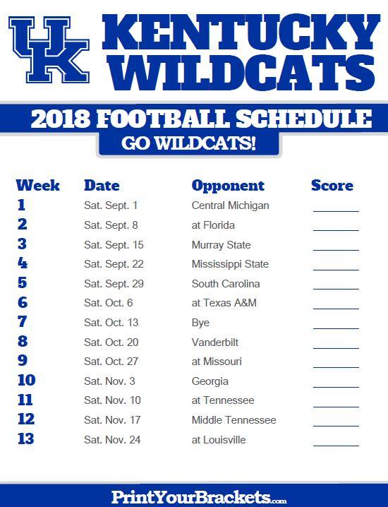 2018 Printable Kentucky Wildcats Football Schedule