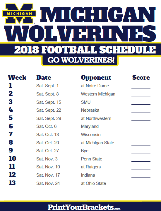 2018 Printable Michigan Wolverines Football Schedule