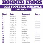 2018 Printable TCU Horned Frogs Football Schedule Tcu