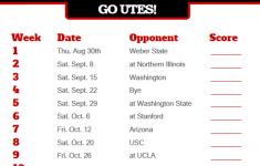 2018 Printable Utah Utes Football Schedule Utah Utes