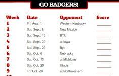 2018 Printable Wisconsin Badgers Football Schedule