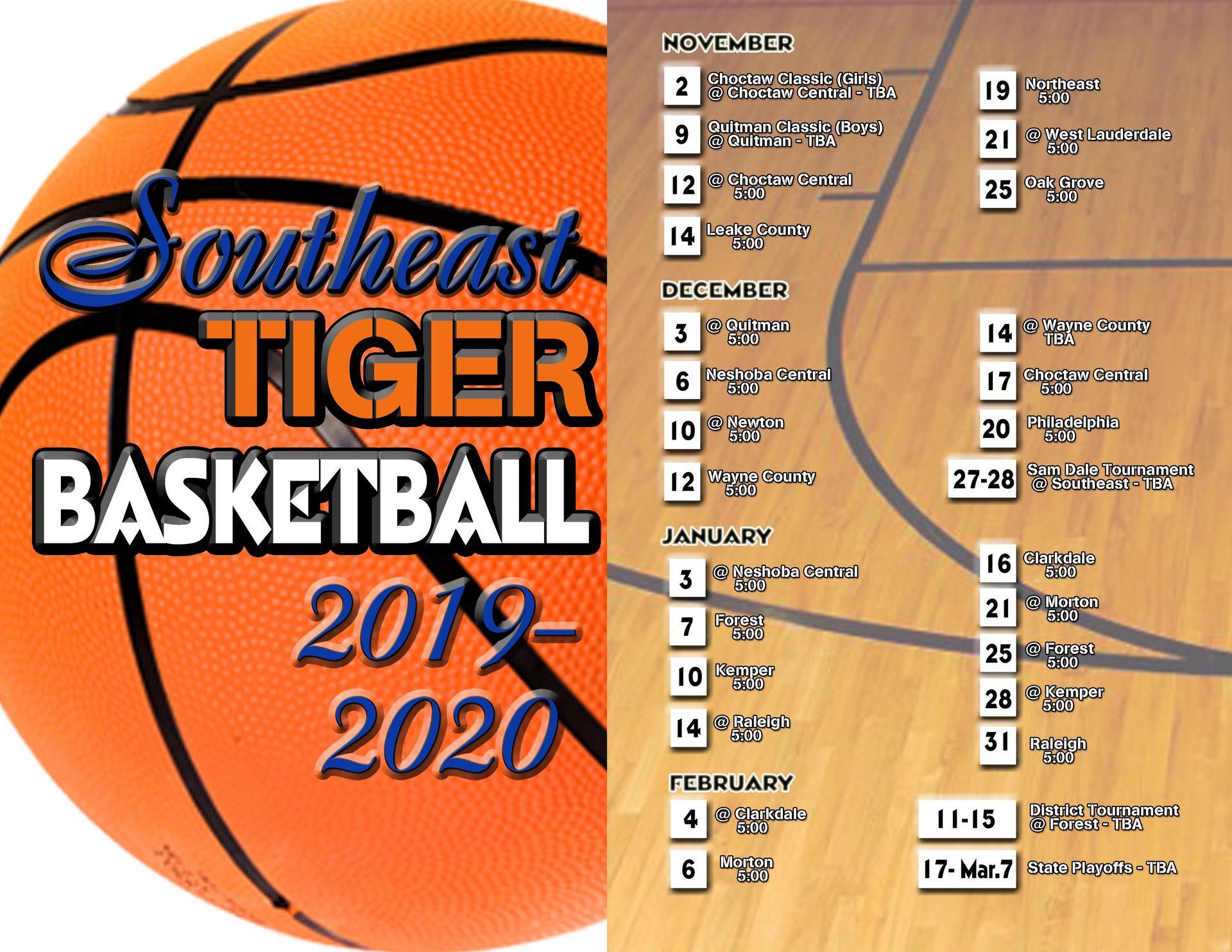 2019 2020 Basketball Schedule Basketball Southeast