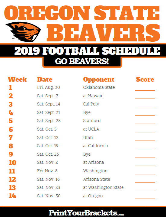 2019 Oregon State Beavers Football Schedule With Images