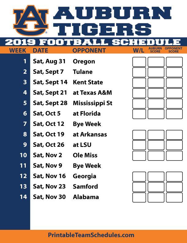 2019 Printable Auburn Football Schedule Auburn Football