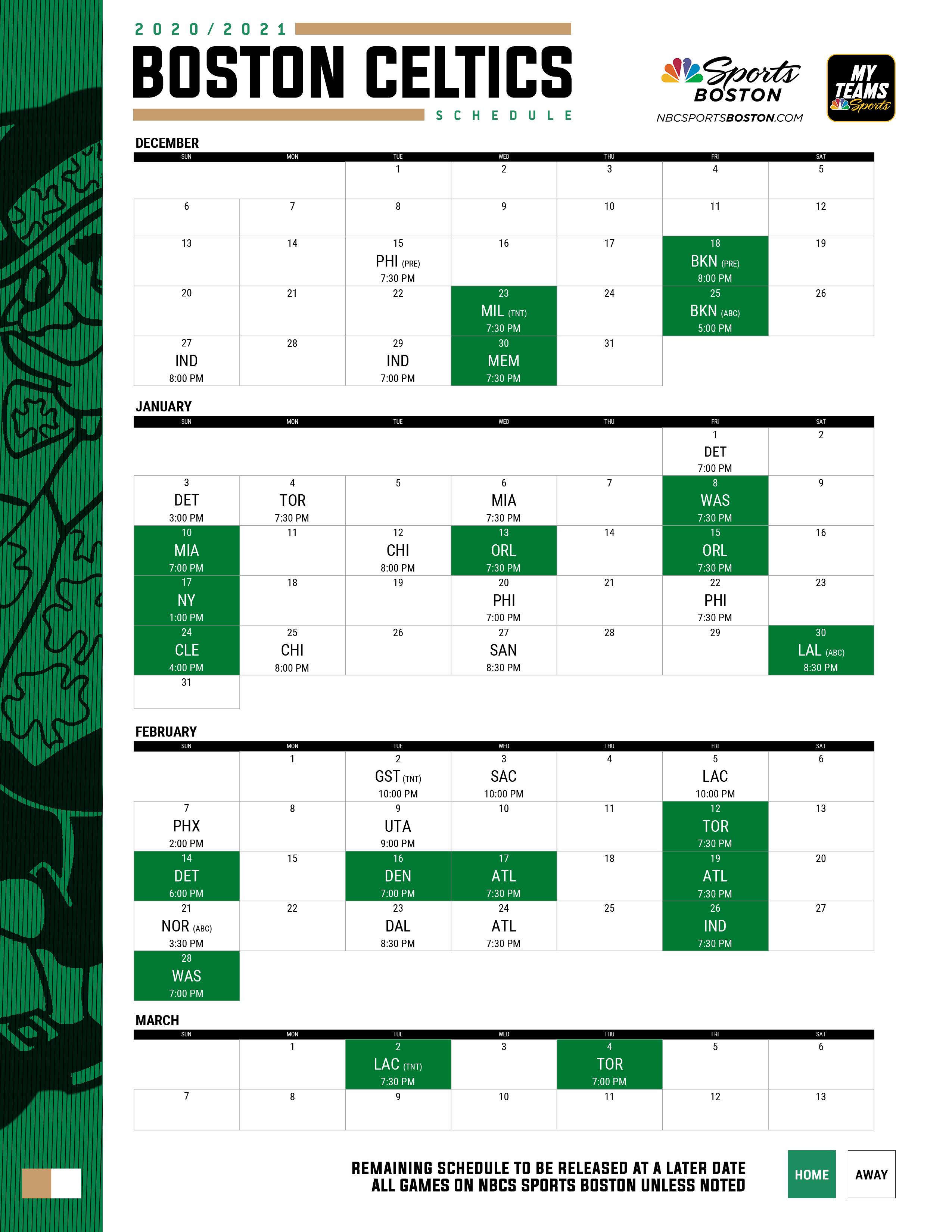 2020 2021 Boston Celtics Printable Schedule NBC Sports