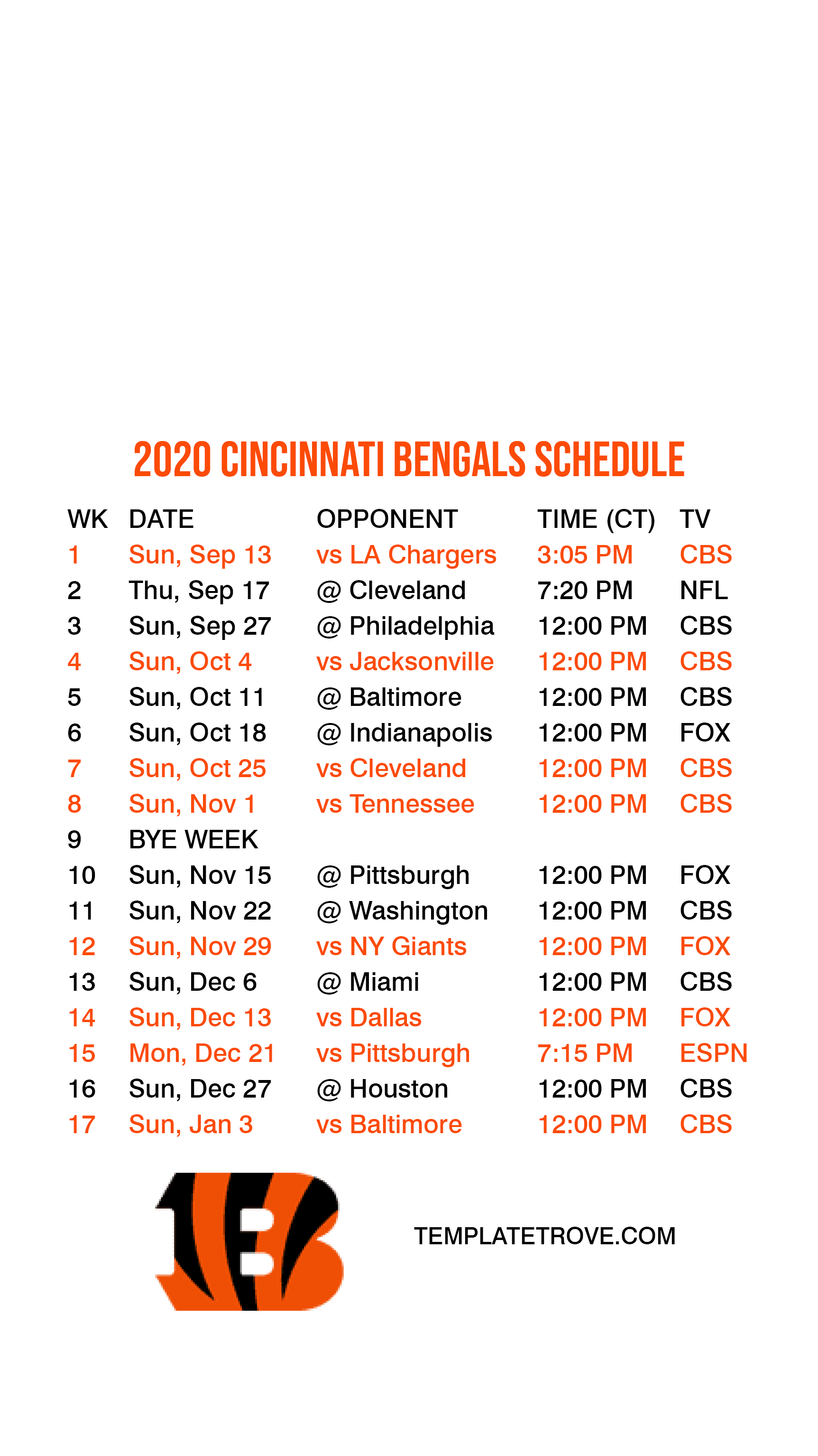 2020 2021 Cincinnati Bengals Lock Screen Schedule For