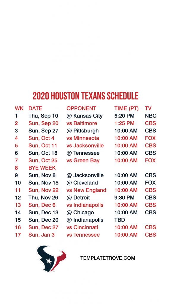 2020 2021 Houston Texans Lock Screen Schedule For IPhone 6