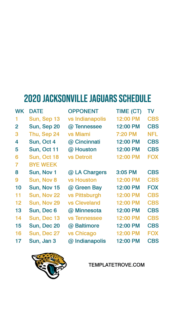 2020 2021 Jacksonville Jaguars Lock Screen Schedule For