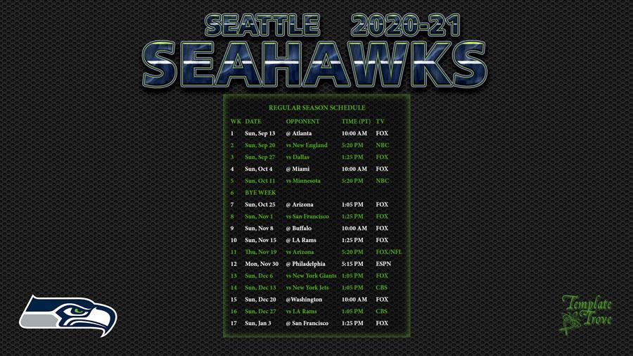 2020 2021 Seattle Seahawks Wallpaper Schedule