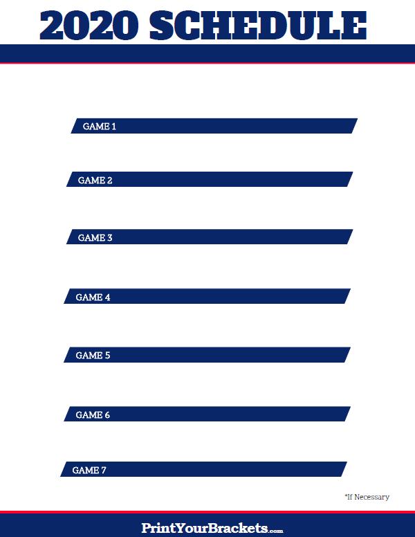 2020 MLB World Series TV Schedule Printable