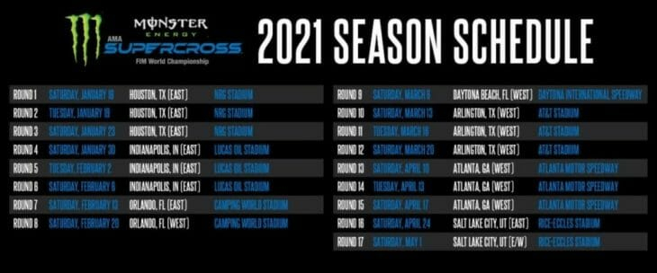2021 AMA Supercross Schedule Cycle News