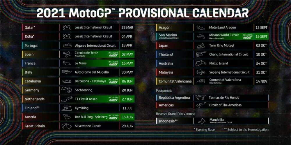 2021 MotoGP Schedule Updated Cycle News
