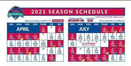 2021 Philadelphia Phillies Team Schedule Tickets