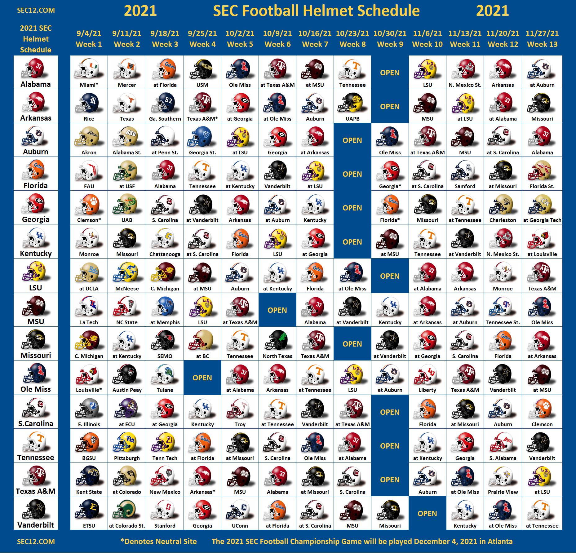 2021 SEC Football Helmet Schedule SEC12 SEC Football