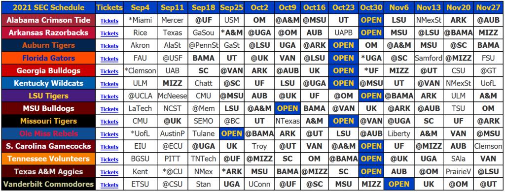 2021 SEC Football Schedule Grid SEC12 SEC Football