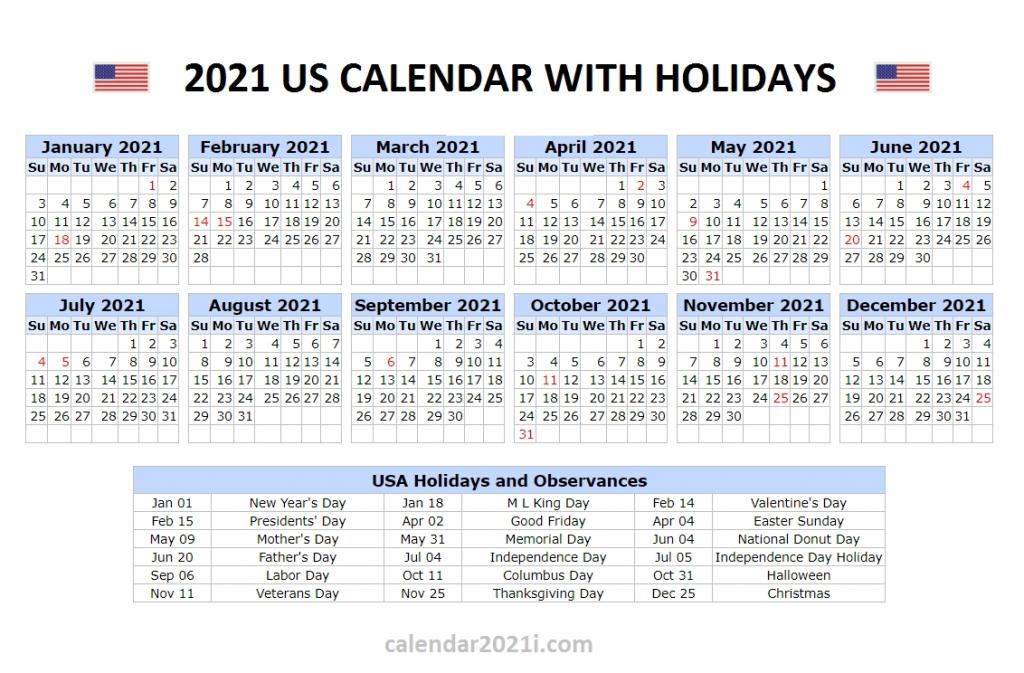 2021 Us Holidays Printable List Calendar Template Printable