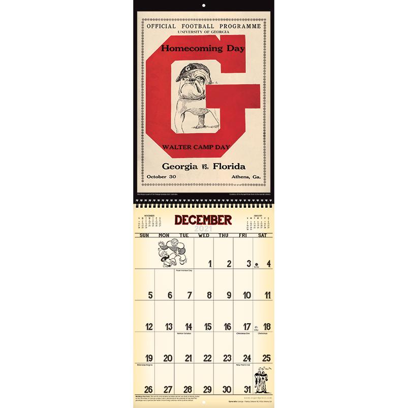 2021 Vintage Georgia Bulldogs Football Calendar Asgard Press