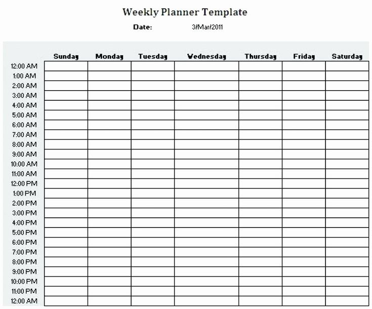 24 Hr Schedule Template Unique Printable 24 Hour Weekly