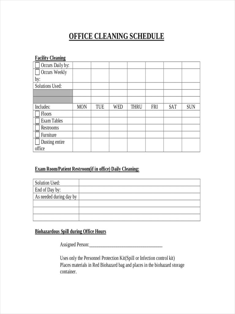 26 Cleaning Schedule Examples In PDF MS Word Pages