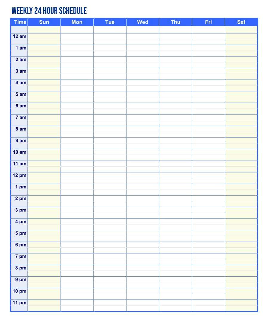 7 Best Weekly Hourly Schedule Printable Printablee