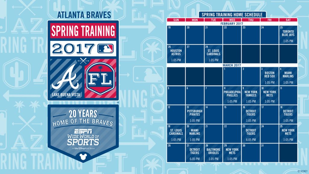 Atlanta Braves 20th Annual Spring Training Schedule At