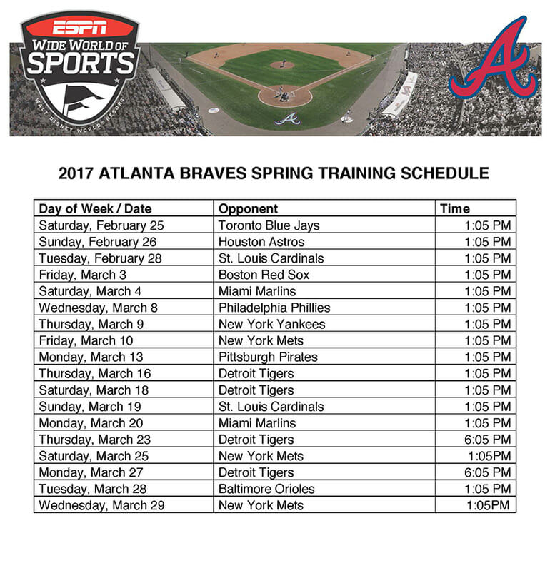Atlanta Braves Spring Training Disney Packages Now Available