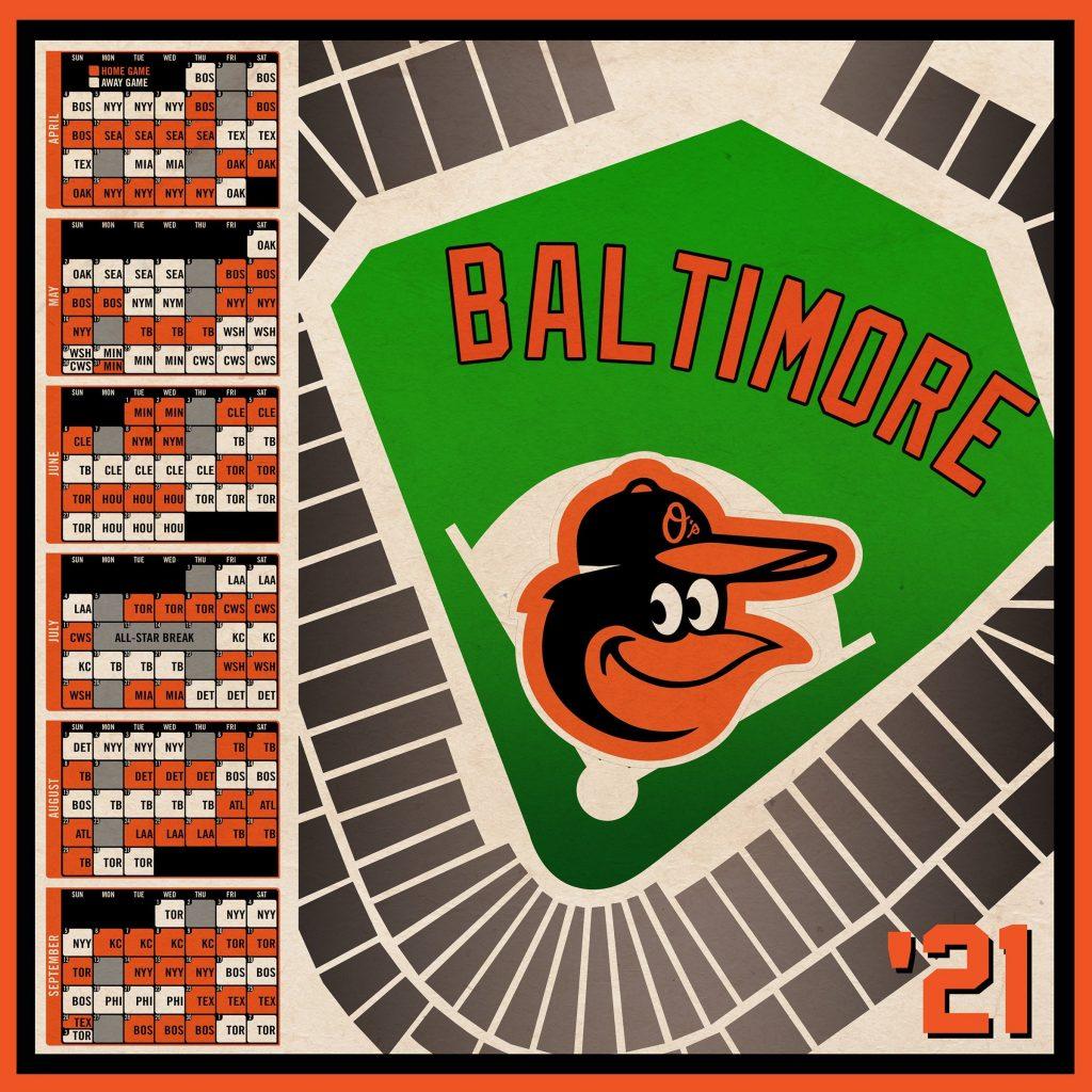 Baltimore Orioles 2021 Schedule Print Etsy