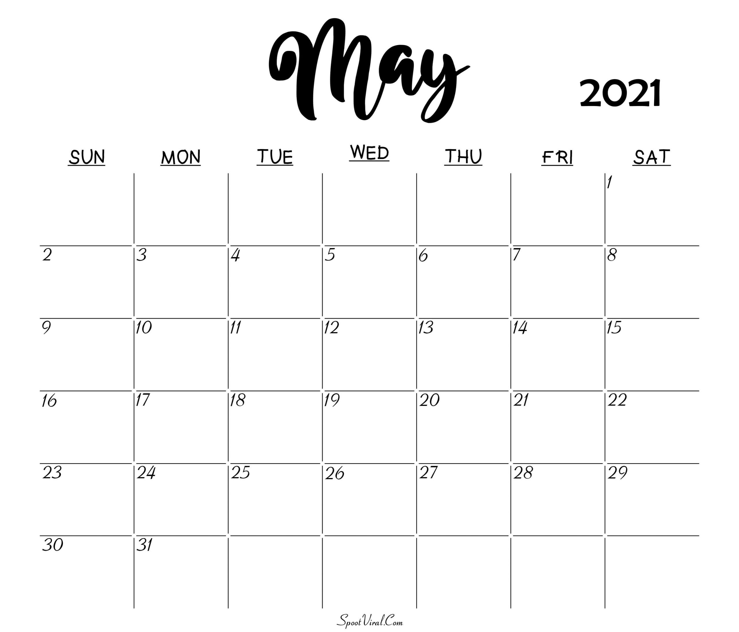 Blank May 2021 Calendar Printable Latest Calendar