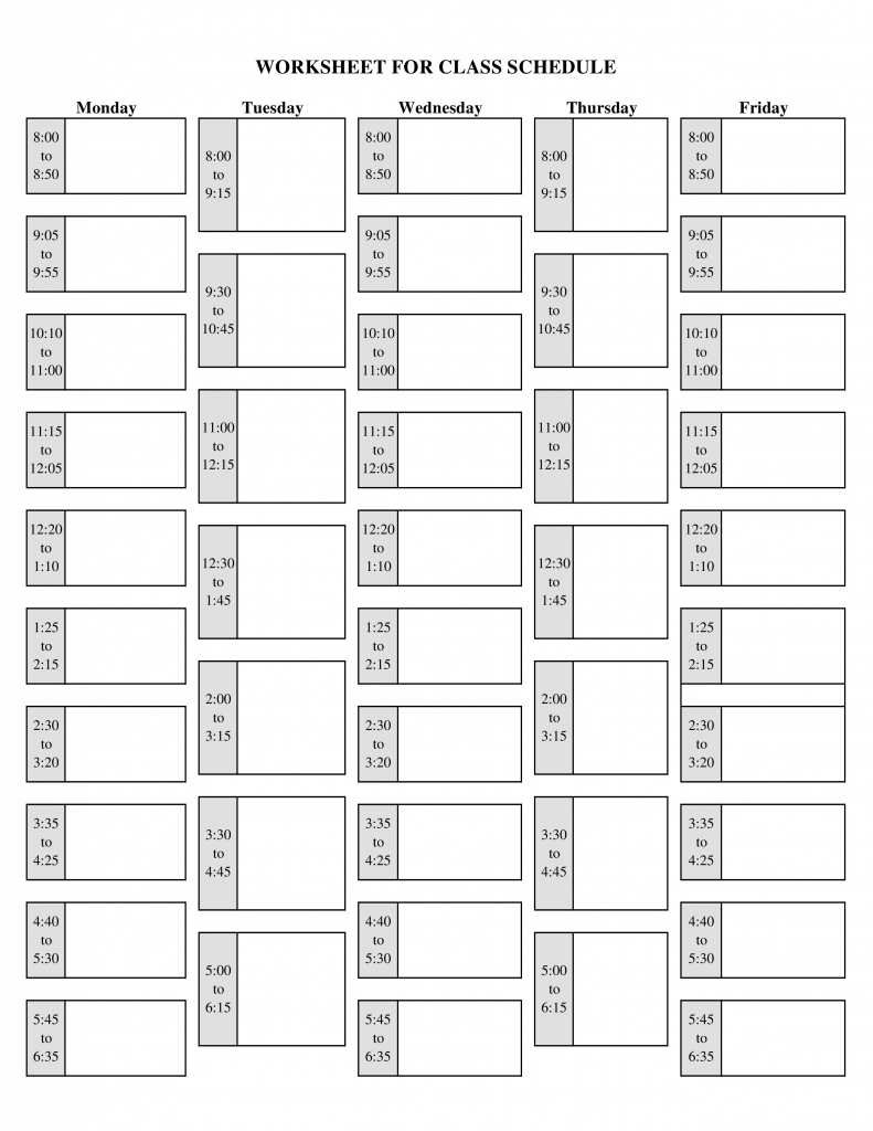Blank School Schedule Printable Templates At