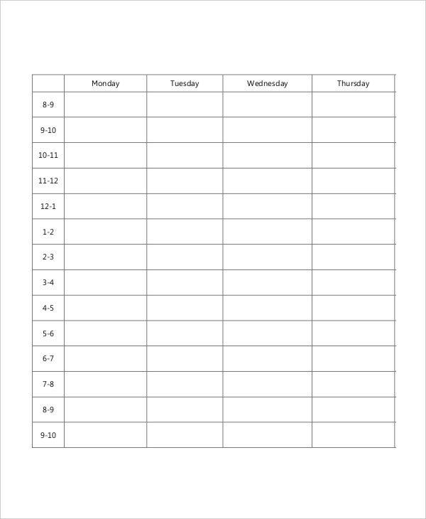 Blank School Schedule Template 8 Free PDF Word Format