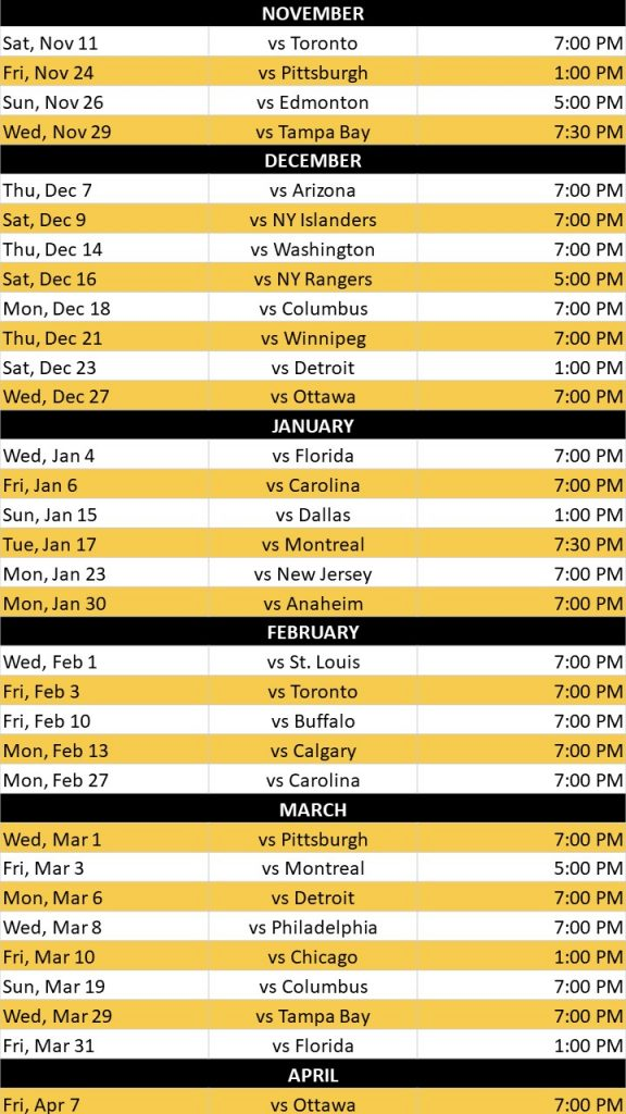 Boston Bruins Schedule 2021 17 Printable