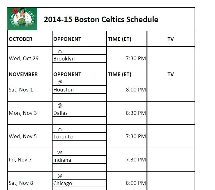 Boston Celtics Boston Celtics Schedule Boston Celtics