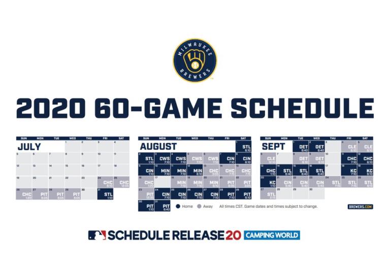 Brewers Release 2020 Regular Season Schedule Printable