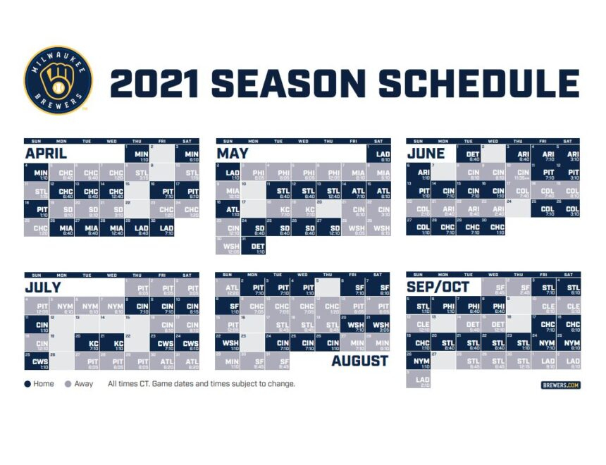 Brewers Release Complete 2021 Schedule