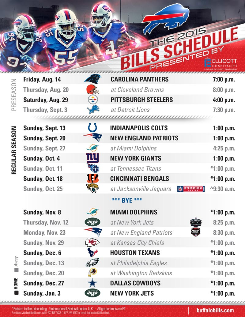 Buffalo Bills 2015 Schedule Presented By Ellicott