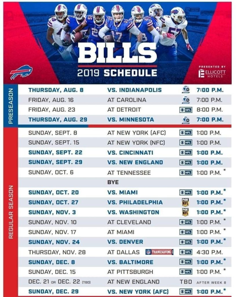 Buffalo Bills 2019 Printable Schedule PrintAll