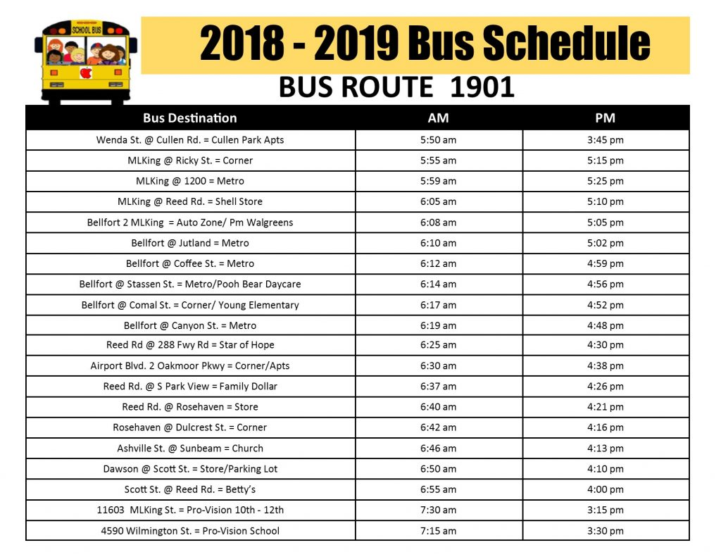 Bus Stops And Schedules Pro Vision Inc
