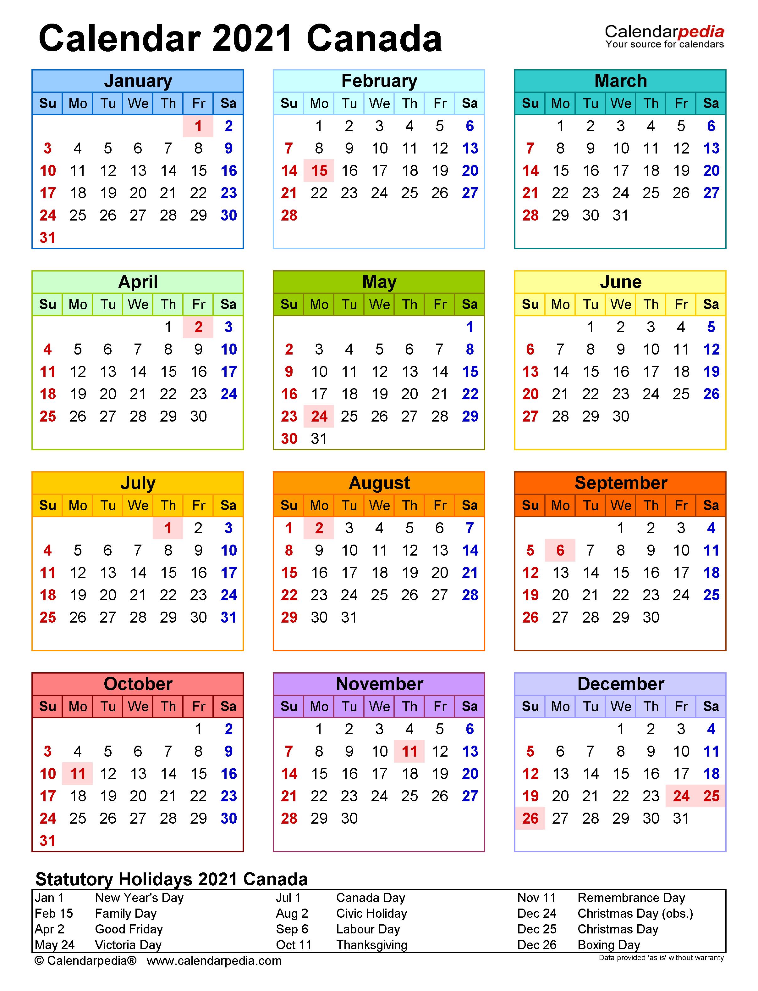 Calendar 2021 Canada Calendarpedia