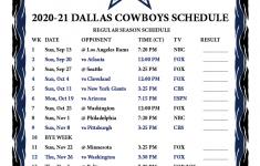 Calendar Cowboys 2021 Calendar Page
