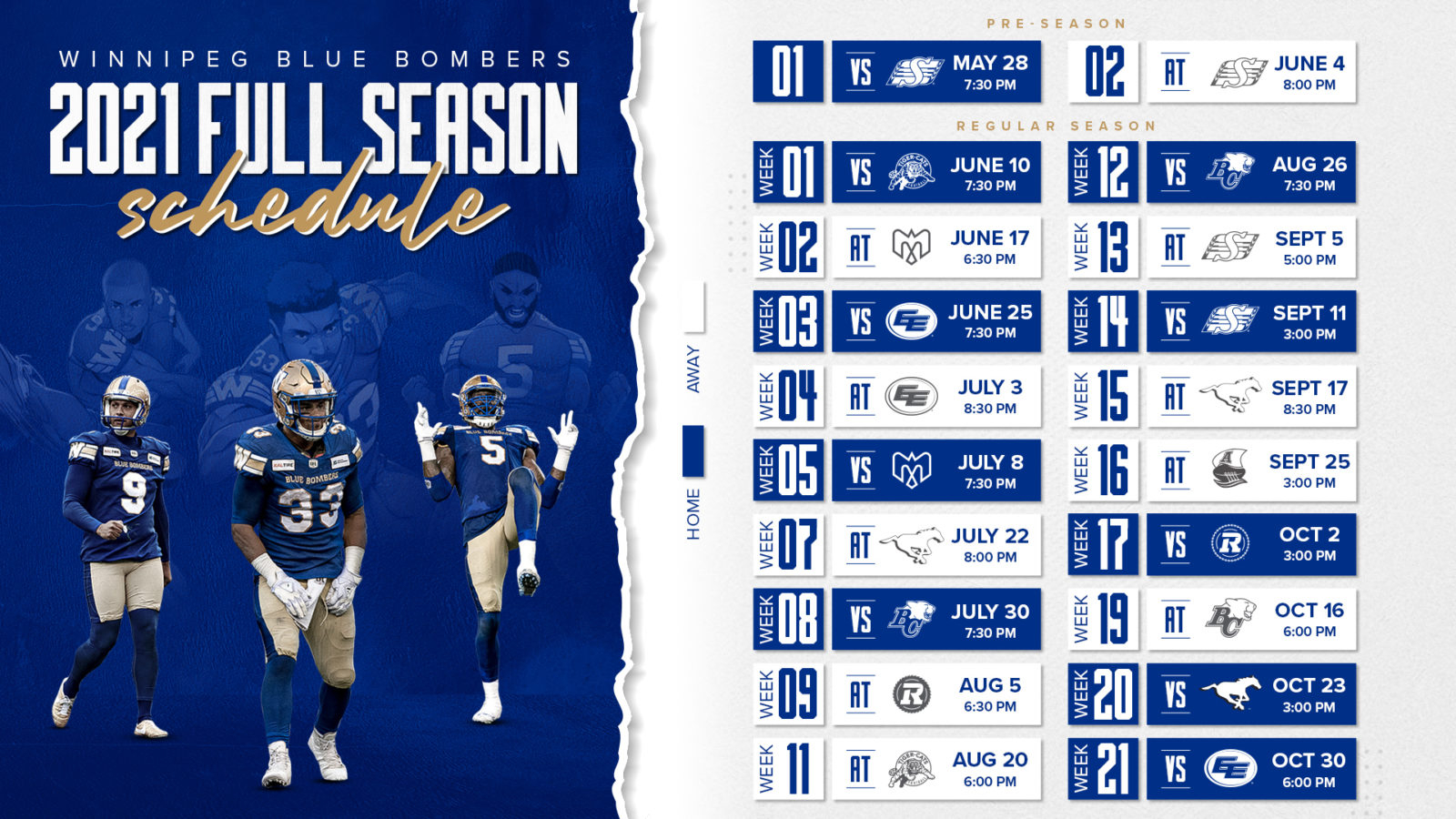 Canadian Football League Releases 2021 Schedule Winnipeg