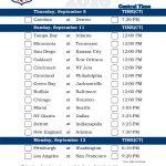 Central Time Week 1 NFL Schedule 2016 Printable
