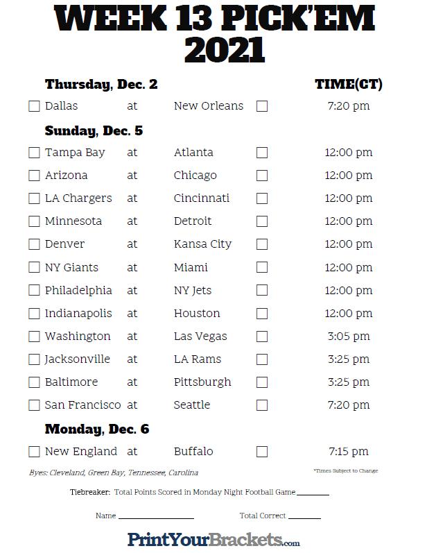 Central Time Week 13 NFL Schedule 2020 Printable