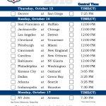 Central Time Week 6 NFL Schedule 2016 Printable
