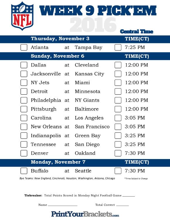 Central Time Week 9 NFL Schedule 2016 Printable