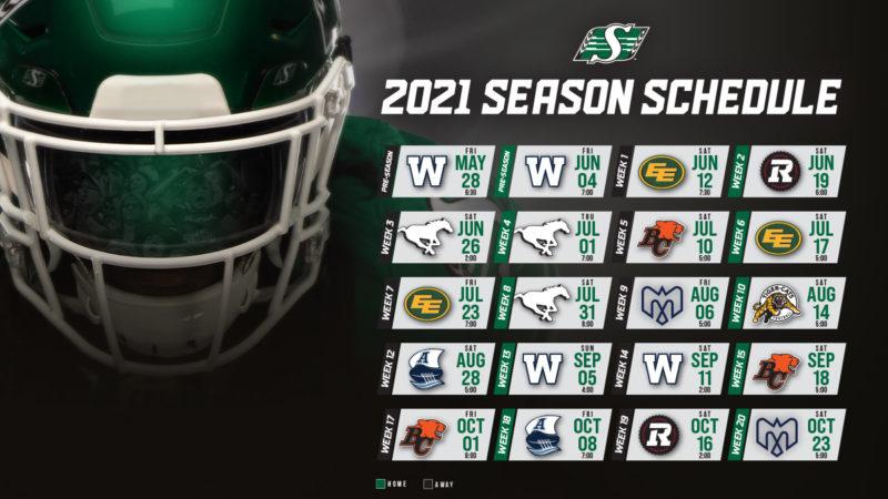 CFL Releases comeback 2021 Schedule Saskatchewan