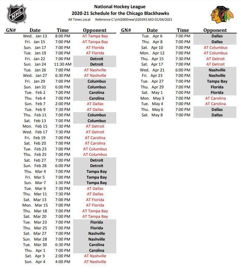 Chicago Blackhawks 2021 NHL Season Schedule Start Times