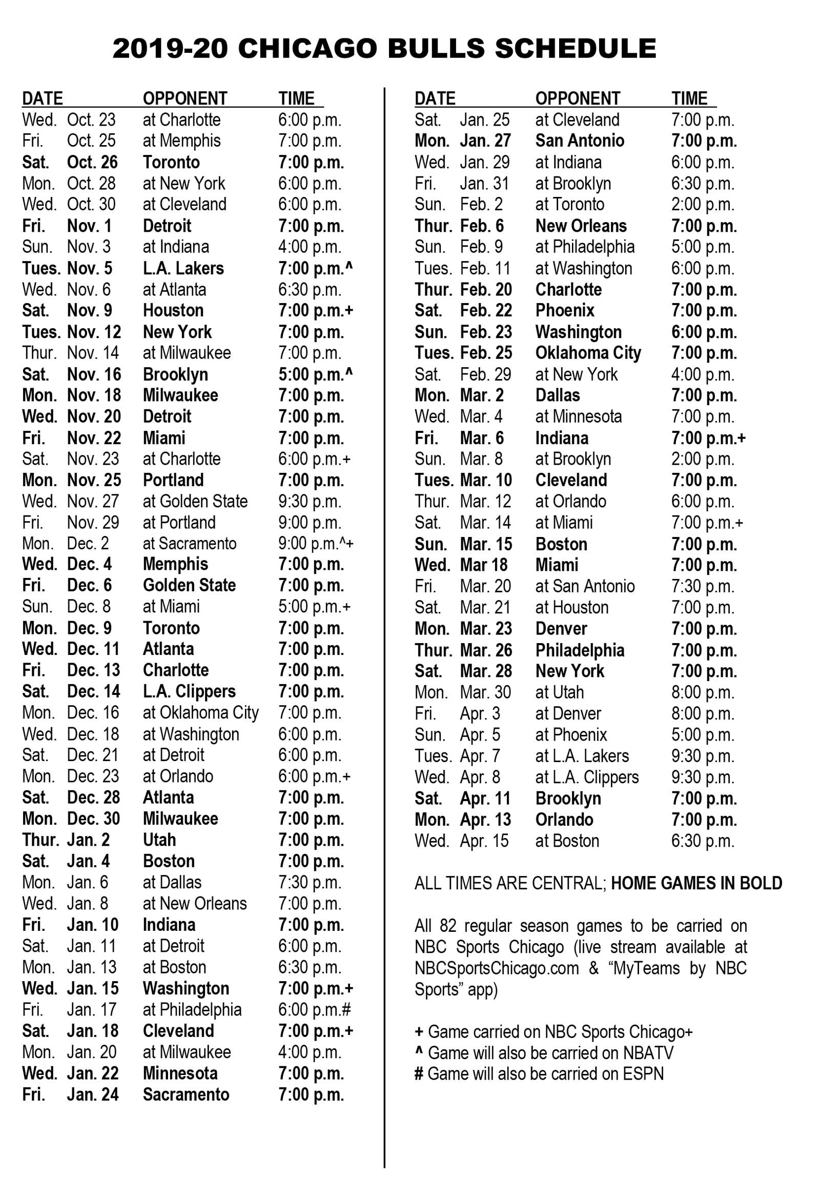 Chicago Bulls Announce 2019 20 Schedule Chicago Bulls