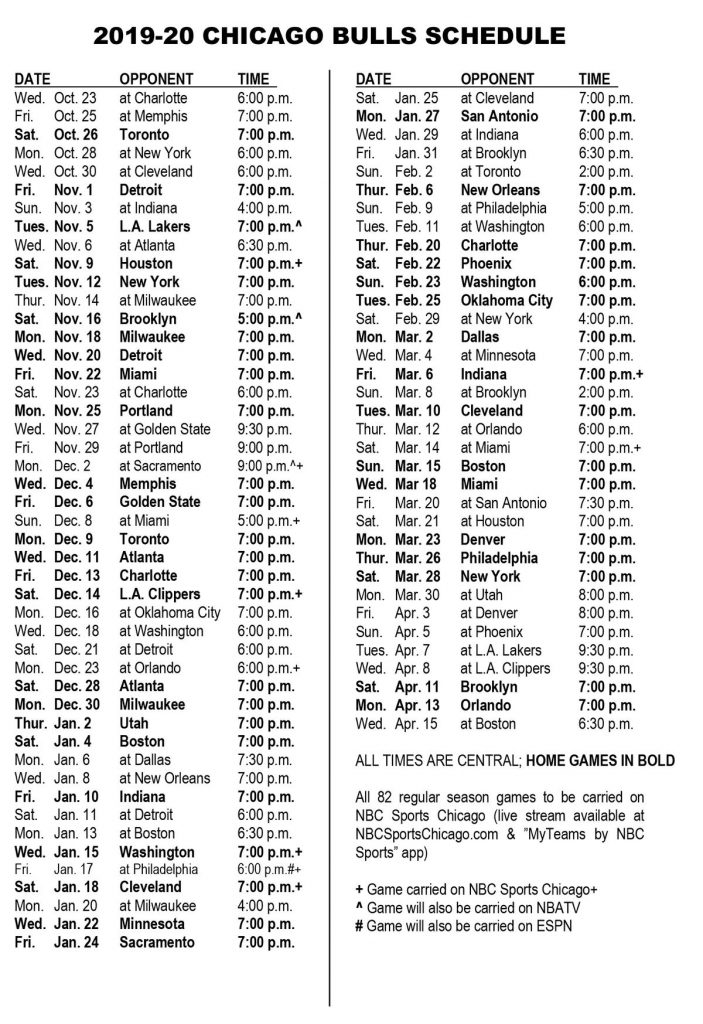 Chicago Bulls Schedule Here Are The Top 82 Games For The